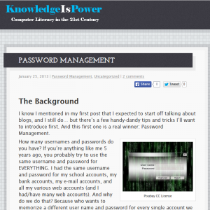 Artifact #1: Password Management – Knowledge is Power