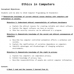 Artifact #2: Ethics in Computers – Lesson